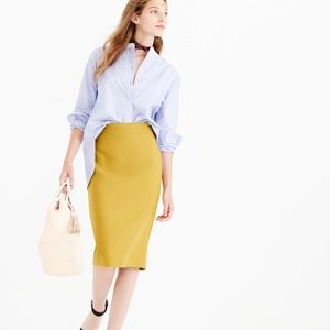 J. Crew No. 2 pencil wool skirt mustard yellow